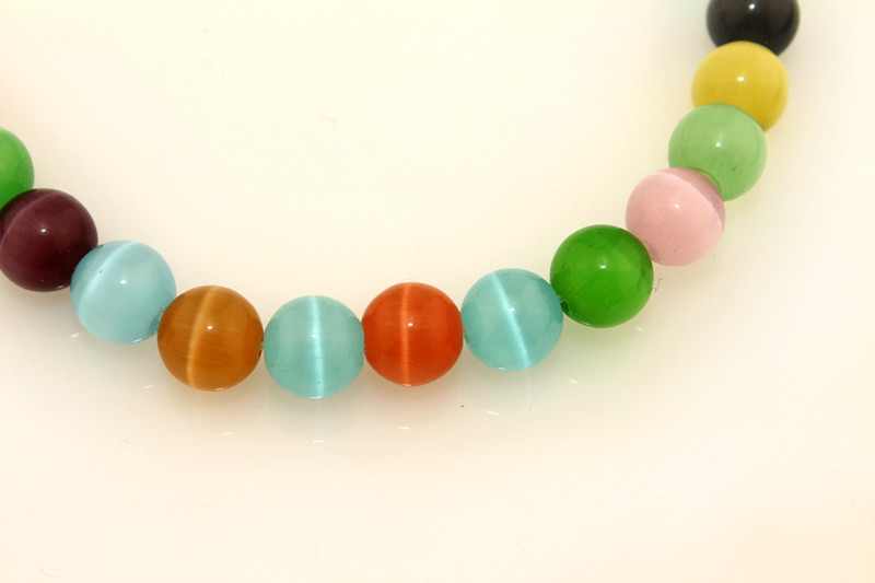 Wholesale Synthetic Cat's Eye Loose Strand 6 8 10 12 14mm Round Rainbow Opal