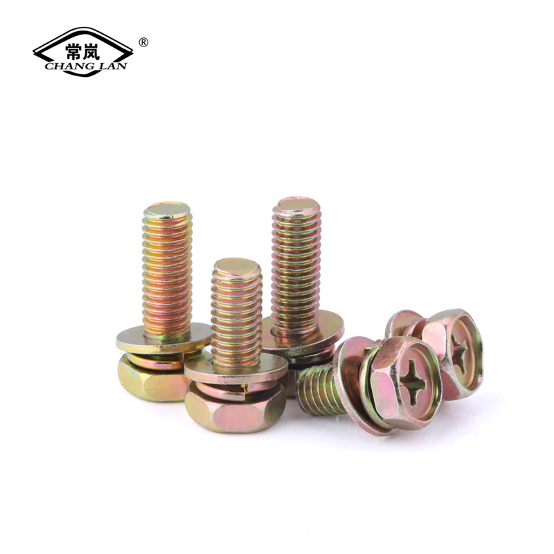 Three combination bolt nut washer