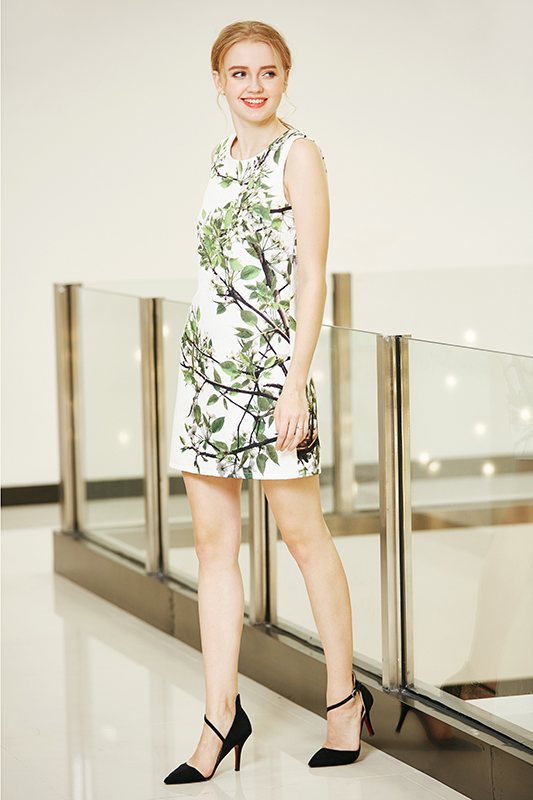 A Line One Piece Placement Printing Shift Dress