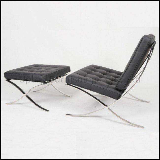 Modern Leisure Leather Lounge Barcelona Sofa Chair with Ottoman (SP-HC080)