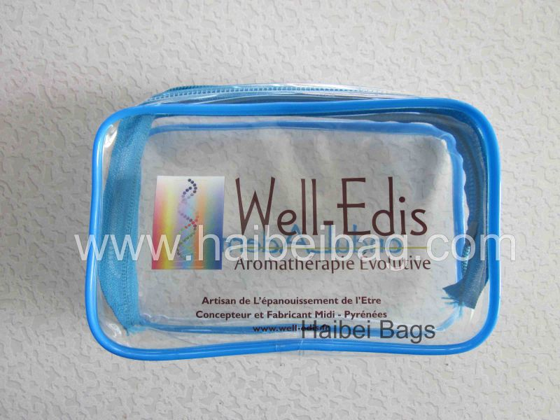 Transparent Cosmetic PVC Bag, with Custom Colour Seam