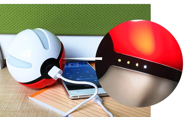 High Quality 10000mAh Pokemon Charger Pokemon USB Pokeball Power Bank
