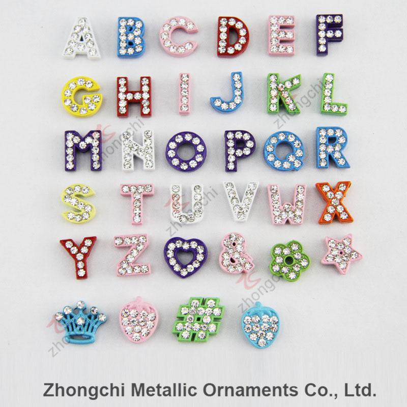 8mm Colorful Rhinestone Slide Alphabet Charm for DIY Jewelry