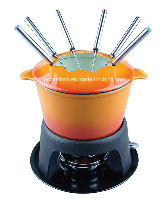 Enamel Cast Iron Cheese Fondue Set with 6 Forks