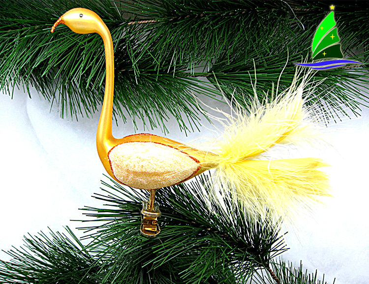 painted glass flamingo ornament