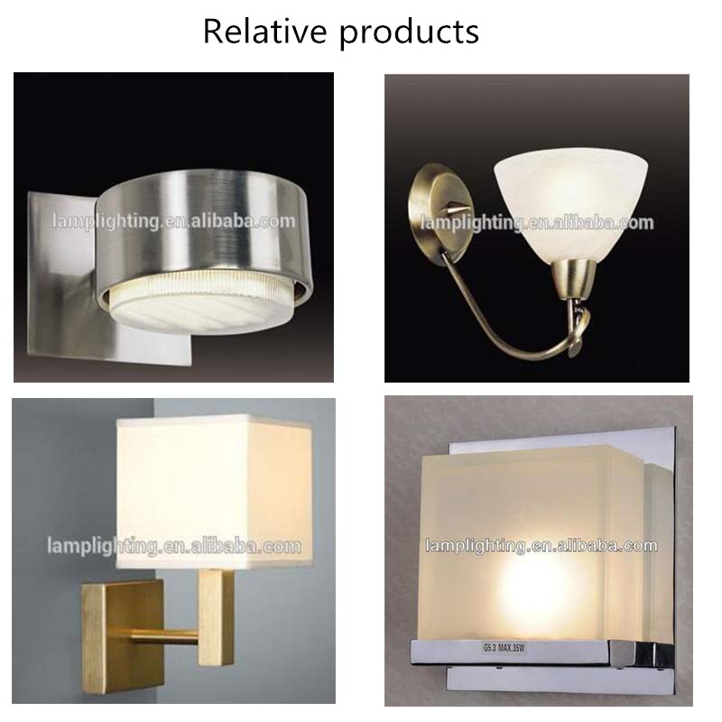 Hotel Decorative Chrome Bedside Wall Lamp with Fabric Shade