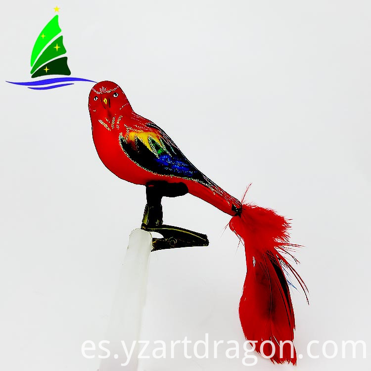 Glass Christmas Bird Ornament
