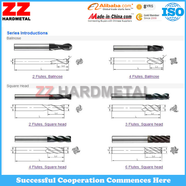 ISO Tungsten Carbide End Mills for Cutting Milling Inserts (Ball nose, Square nose, Corner Nose)