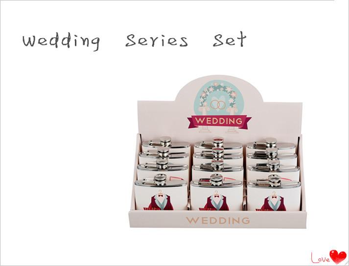 Happy Wedding Design Series Wine Hip Flask Set for Gift