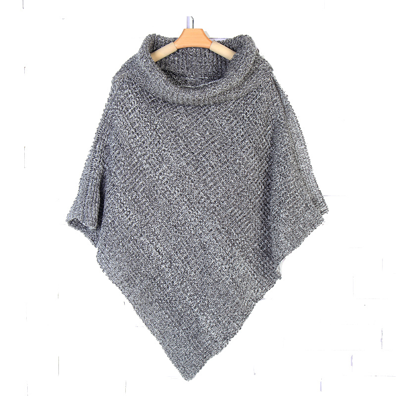 Womens Neck Warmer Scarf Sweater Cardigan Wraps Winter Knitted Shawls Poncho (SP609)