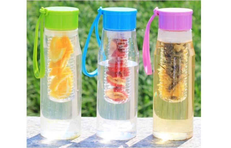 600ML Tritan Fruit Infuser water Bottle, BPA free PCTG water bottle, fruit infusing water bottle