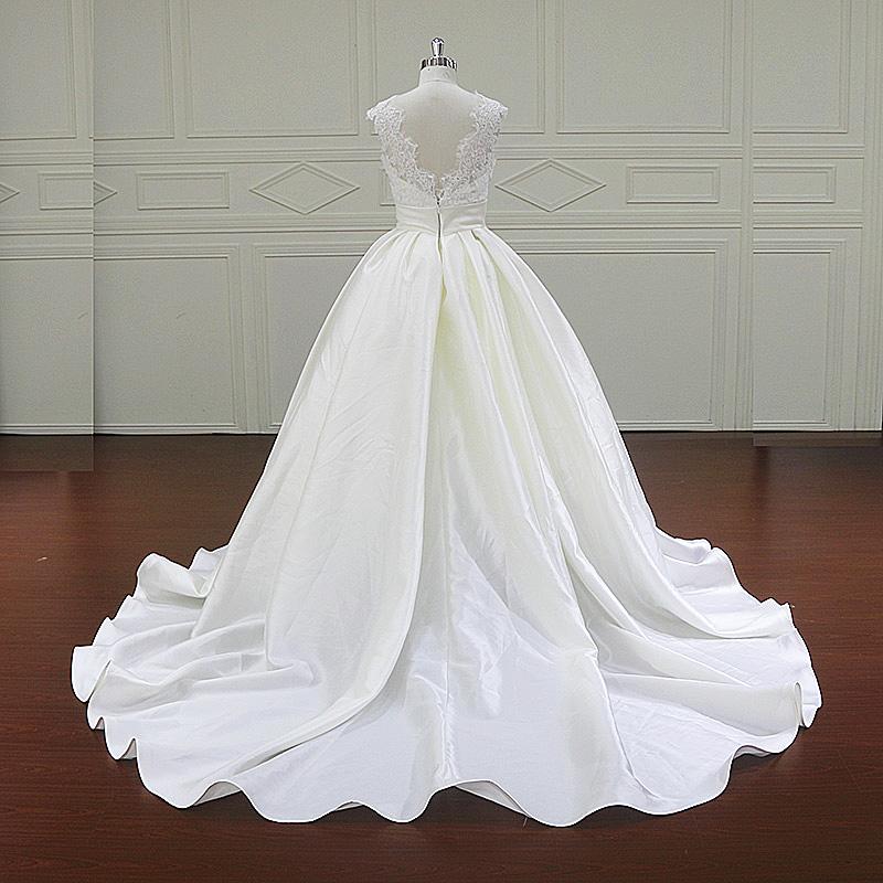 Fancy Beautiful Lace Floor Length Mikado Wedding Dress