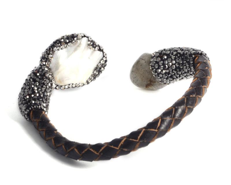Fashion Leather Gemstone Bracelet Jewelry for Lady Girl