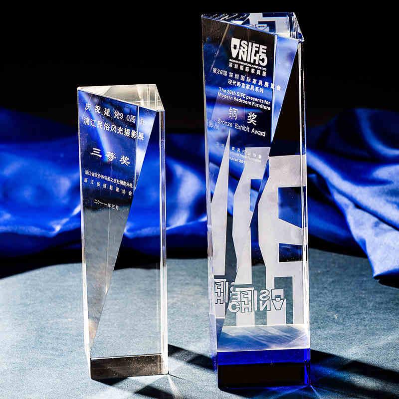 K9 Simple Crystal Trophy Crystal Column Award-Free Engraving