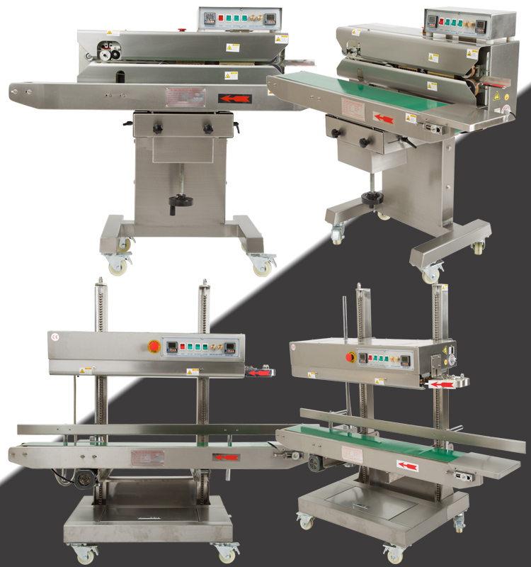 Factory Direct Sales Vertical and Horizontal Double Use Continuous Band Sealer with Date Coding for Automatic Sealing
