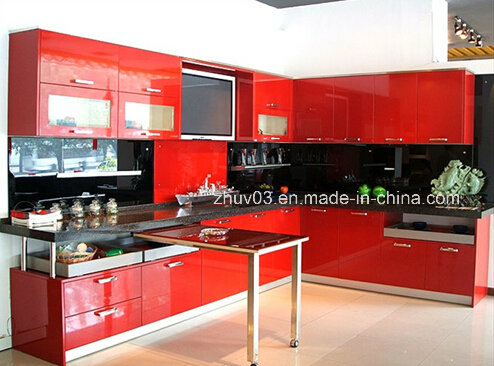 Glossy Customized Wood Acrylic Kitchen Cabinets for Hotel Furniture (Acrylic for cabinet doors)