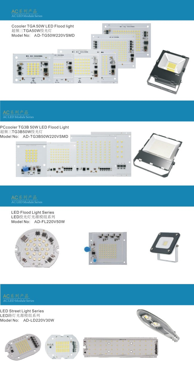 IC LED PCB Board Linear Constant Current Driver for Driverless LED Flood Light 20W (10W 20W 30W 50W 80W 100W 150W 200W)