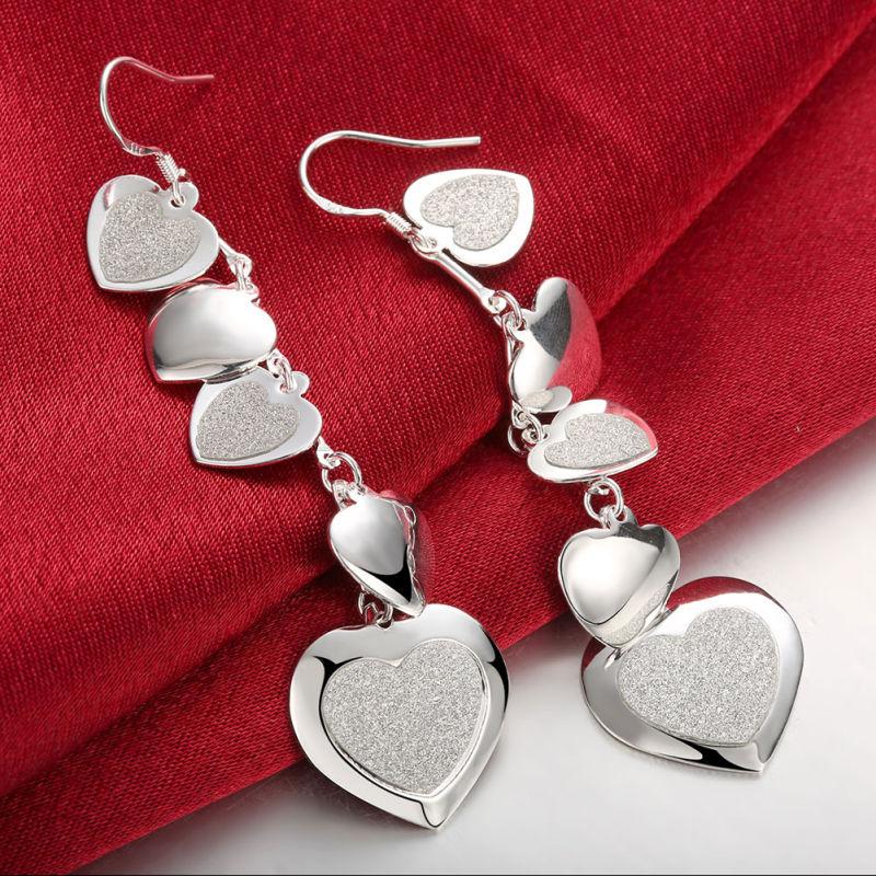 Hotsale Heart Shape Silver Earrings Silver Plated Heart Girls Earrings