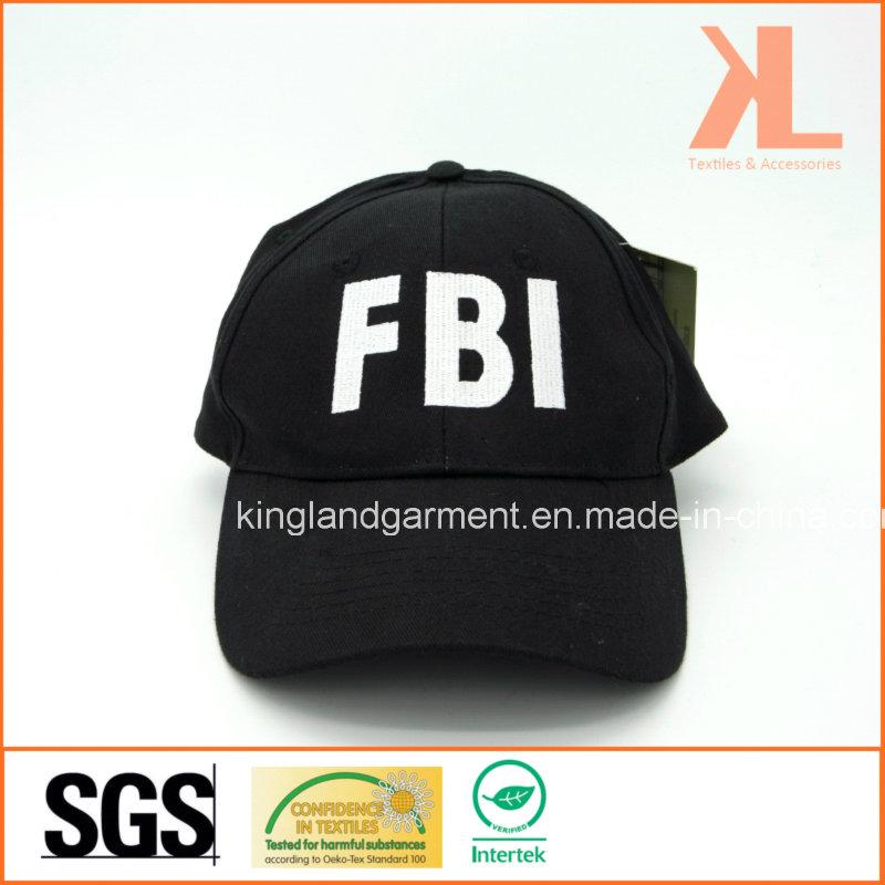 Cotton Drill Army Black Fbi Embroidery Baseball Cap