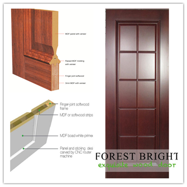 Prefinished Cherry Veneered 10 Panel MDF Door for Village Project.
