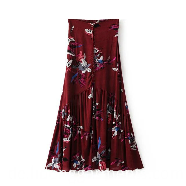 Flower Bird Printed Skirt
