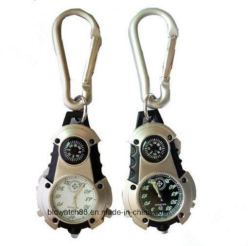 Man Belt Loop Carabiner Clip on Watch Compass