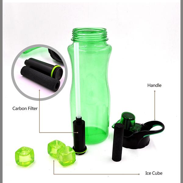 800ml Best Seller Recycle Carbon Filter Water Bottle, BPA Free Sports Water Bottle