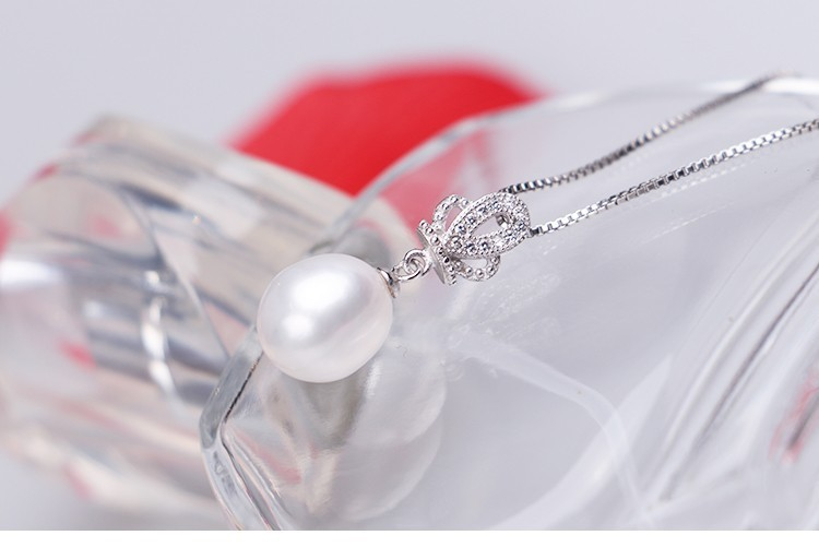 Natural Freshwater Pearl Pendant AAA 9-10mm Culture Teardrop Pearl Pendant