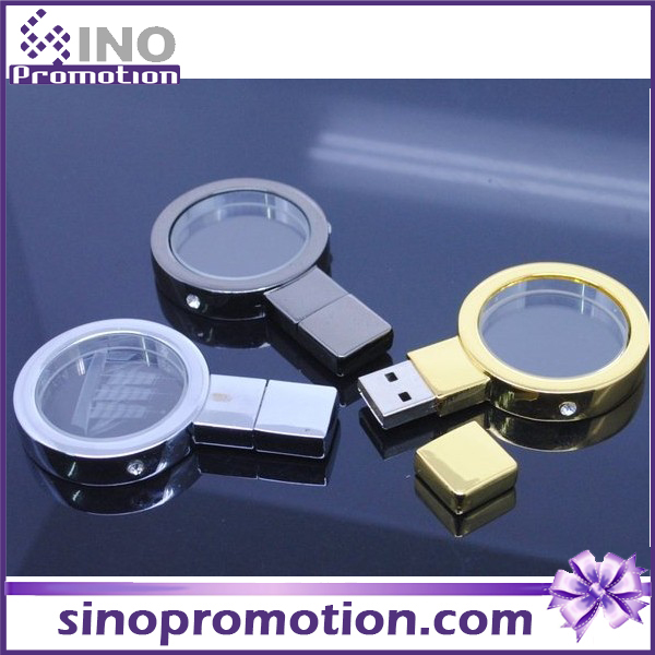 Magnifying Glass Metal Gold and Silver 128GB Flash Drive