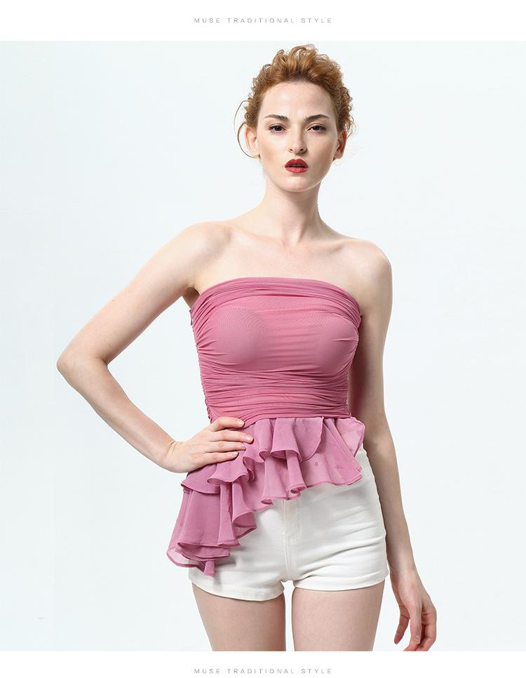 Summer New Flounced Women Bra Chest Wrapped Wild Bottoming Shirt Gauze Ruffle Vest Slim Sexy Blouse