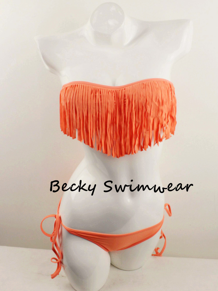 Sexy Lady's Two Piece Swimwear Swimsuit Bandeau with Fringe