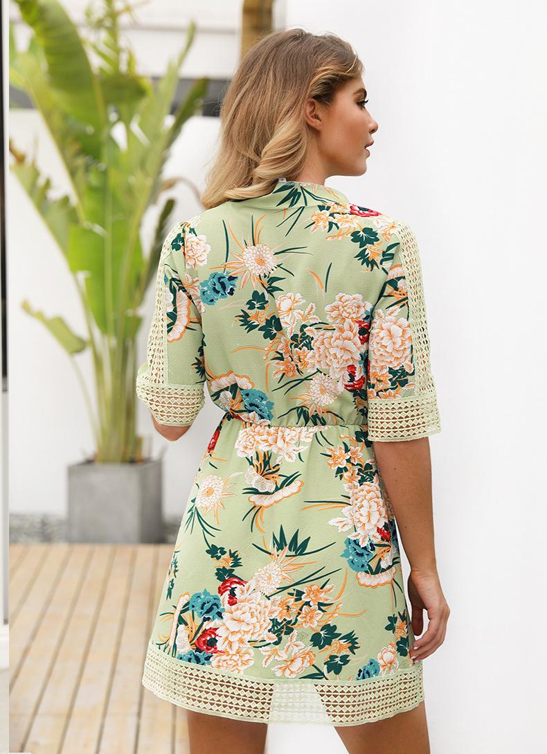 Half Sleeve Flower Women Dress