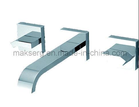 in Wand Edelstahl poliert Becken Wasserhahn Set für Badezimmer