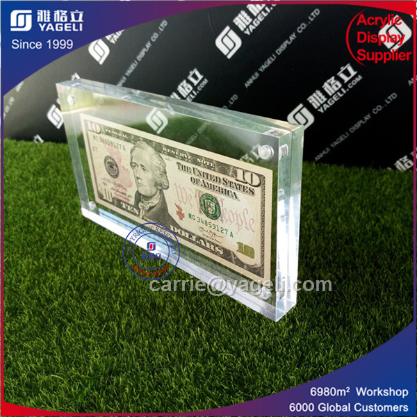High Clear Acrylic Money Currency Holder with Maganet