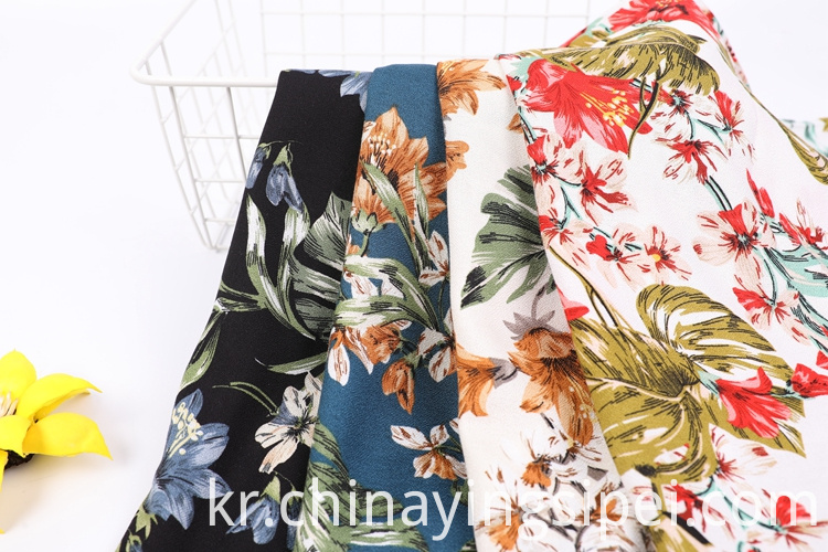 Factory Printed 120gsm Textile Dress Moss Crepe