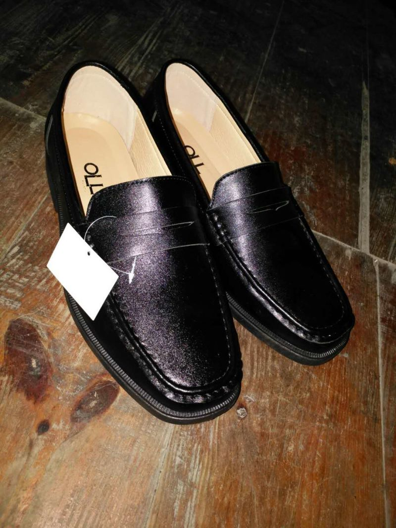 Men Leather Round Toe Shoes Footware Injection Adult Work