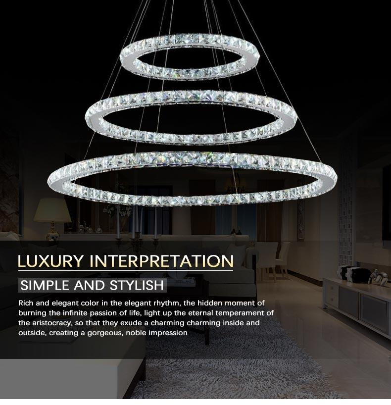 Wholesale Modern Three Rings Crystal Chandelier Lighting