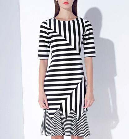 Summer Irregular Color Tail Stripe Elegant Ladies Dress