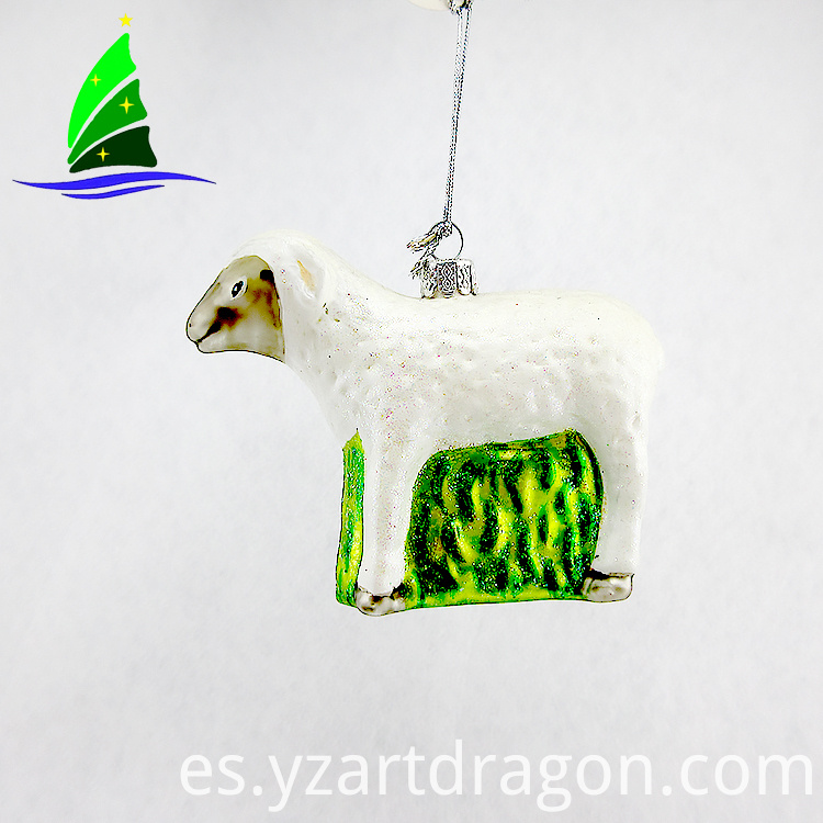 Hanging Glass White Sheep Ornament
