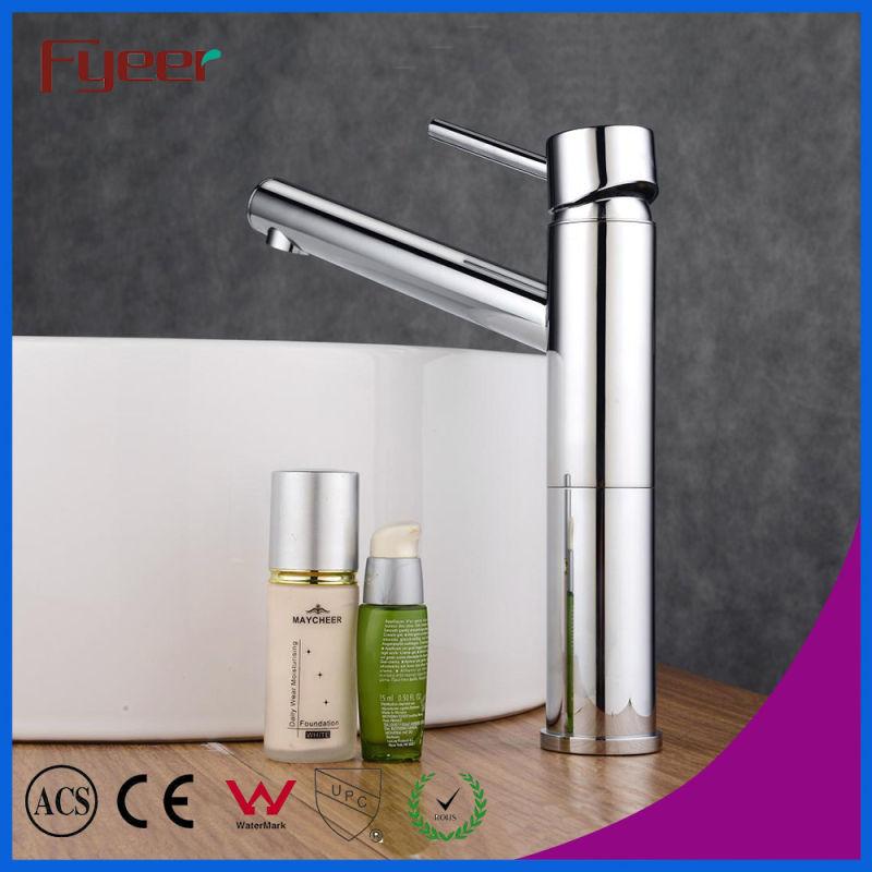 Fyeer Chrome Long Spout Single Handle Brass Bathroom Wash Basin Faucet Hot&Cold Water Mixer Tap Wasserhahn