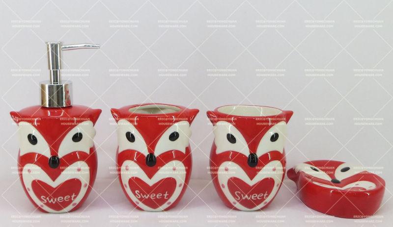 Owl Shaped Ceramic Bathroom Set 4 Pieces
