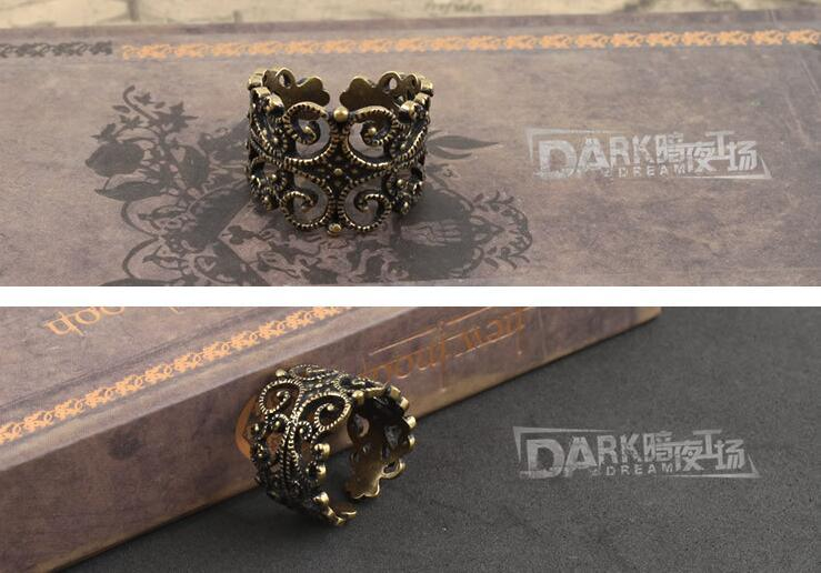 Charm Ring Flower Hollow Design Retro Fashion Copper Color