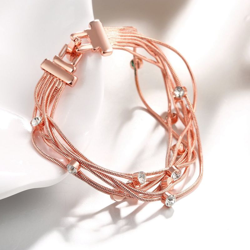 Fashion Eco-Friendly Rose Gold Bracelet Crystal Shape Pendant Charm Bracelet  Multilevel Women Bracelet