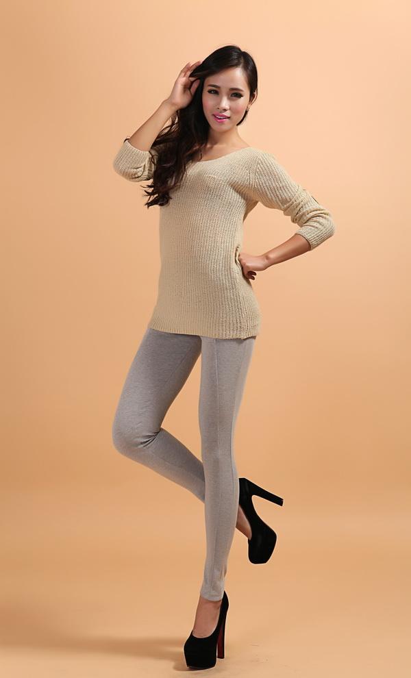 Sex Lady Cotton Leggings with Line Design