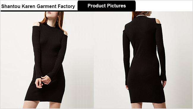 Ladies Cold Shoulder Fashion Sweater Dress