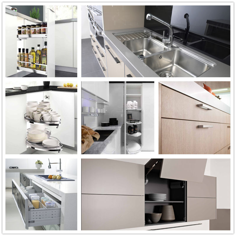 Melamine, High Gloss Lacquer, PVC, Solid Wood Kitchen Cabinet