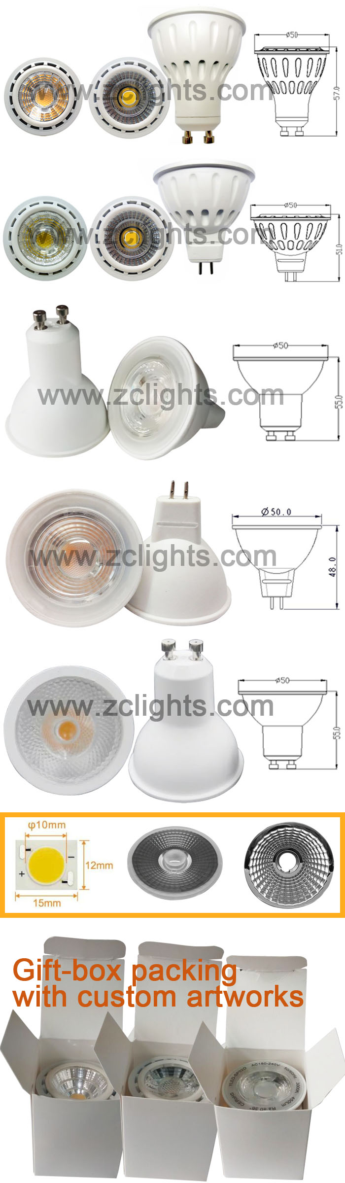 Dimmable 7W GU10 LED Spot Light with Ce