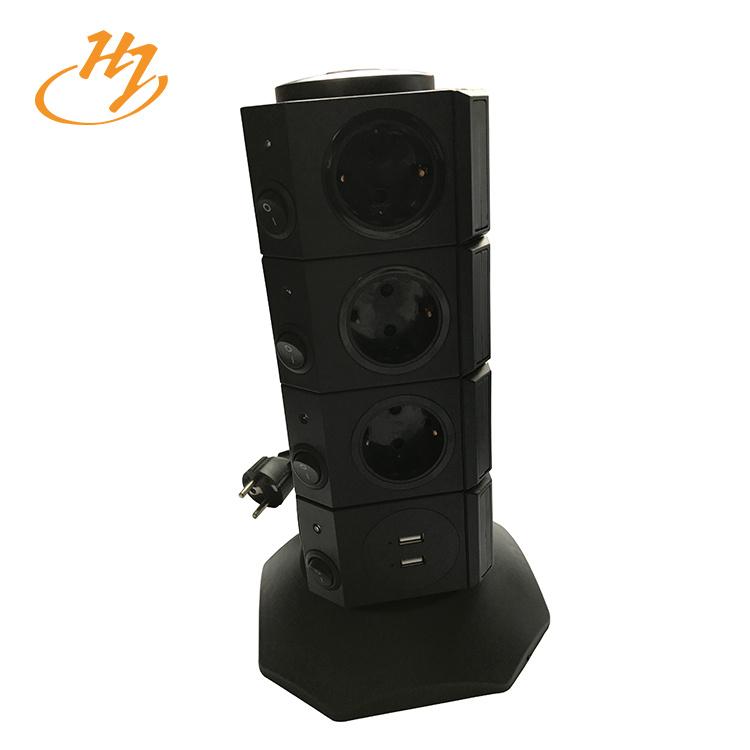 Black 2-USB 4-Layers Vertical Tower Socket