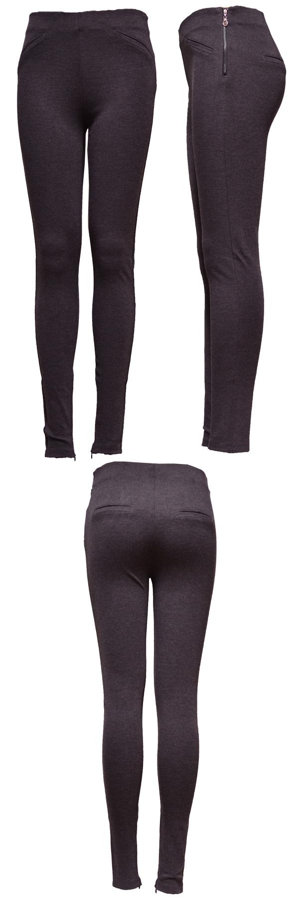 Medium Grey Lady Leggings with Zipper Open
