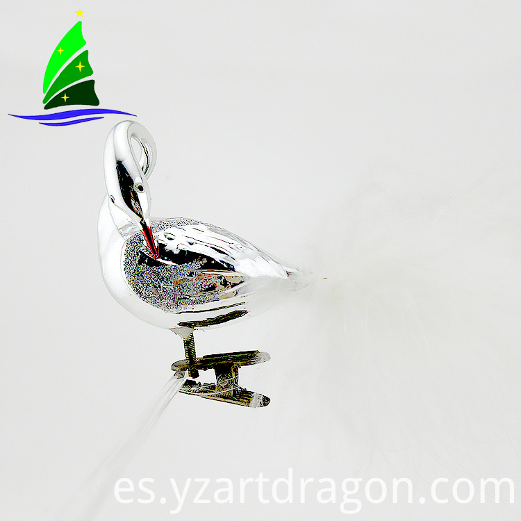 Silvery Glass Clip-on Bird Ornaments